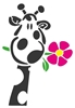 Giraffe with Flower - Vinyl Wall Art