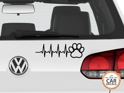 Paw Print Heart Beat Vinyl Car Decal