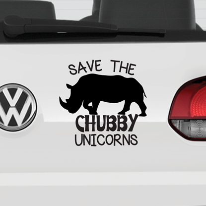 Save The Chubby Unicorns Vinyl Car Decal