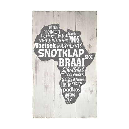 Wooden pallet sign with Afrikaans words in the shape of Africa