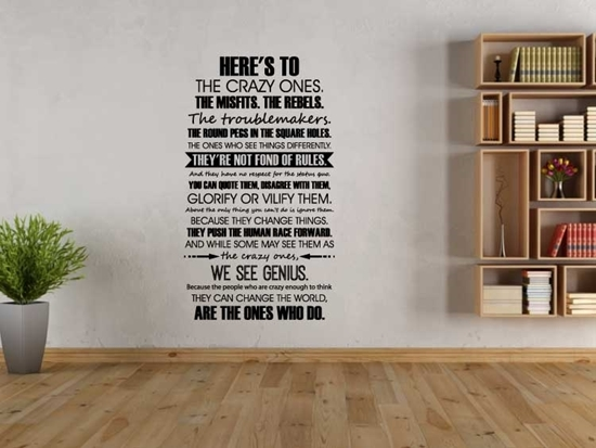 Here's To The Crazy Ones - Steve Jobs Vinyl Wall Art
