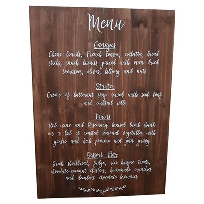Menu - Wedding Wooden Sign