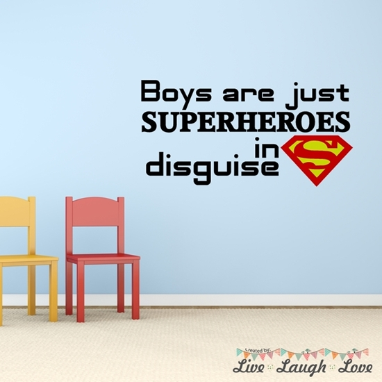Boys Are Just Superheroes Vinyl Wall Art