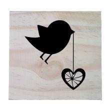Raw Pine Scrabble Tile - Bird with heart