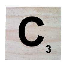 Raw Pine Scrabble Tile - C