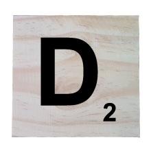 Raw Pine Scrabble Tile - D