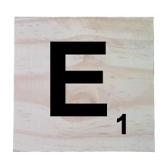 Raw Pine Scrabble Tile - E