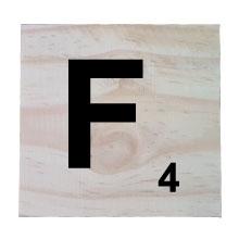 Raw Pine Scrabble Tile - F