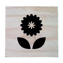 Raw Pine Scrabble Tile - Flower