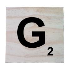 Raw Pine Scrabble Tile - G