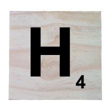 Raw Pine Scrabble Tile - H