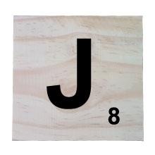 Raw Pine Scrabble Tile - J