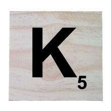 Raw Pine Scrabble Tile - K