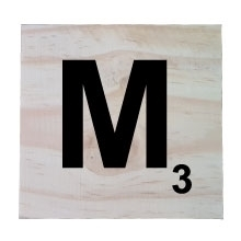 Raw Pine Scrabble Tile - M