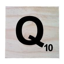 Raw Pine Scrabble Tile - Q