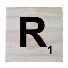 Raw Pine Scrabble Tile - R