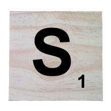 Raw Pine Scrabble Tile - S