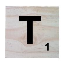 Raw Pine Scrabble Tile - T