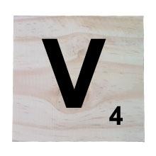 Raw Pine Scrabble Tile - V