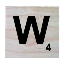 Raw Pine Scrabble Tile - W