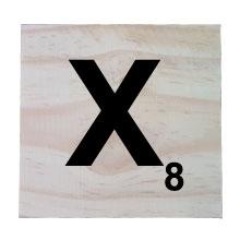 Raw Pine Scrabble Tile - X