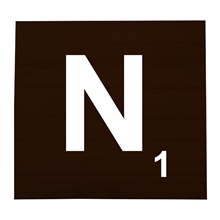 N Stained Scrabble Tile